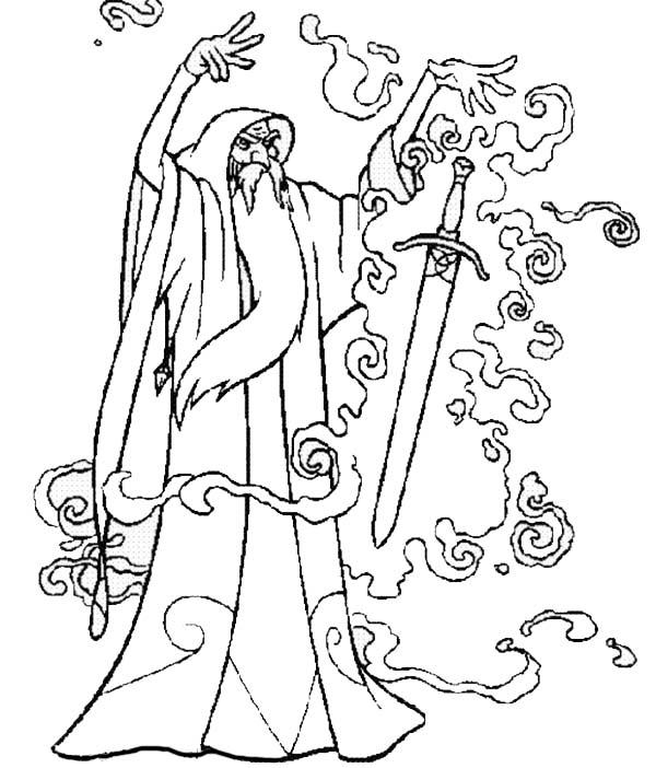 Merlin The Wizard Put A Magic Spell Into A Sword Coloring Pages