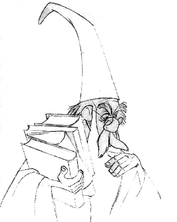 Merlin the wizard thinking hard while holding books coloring pages