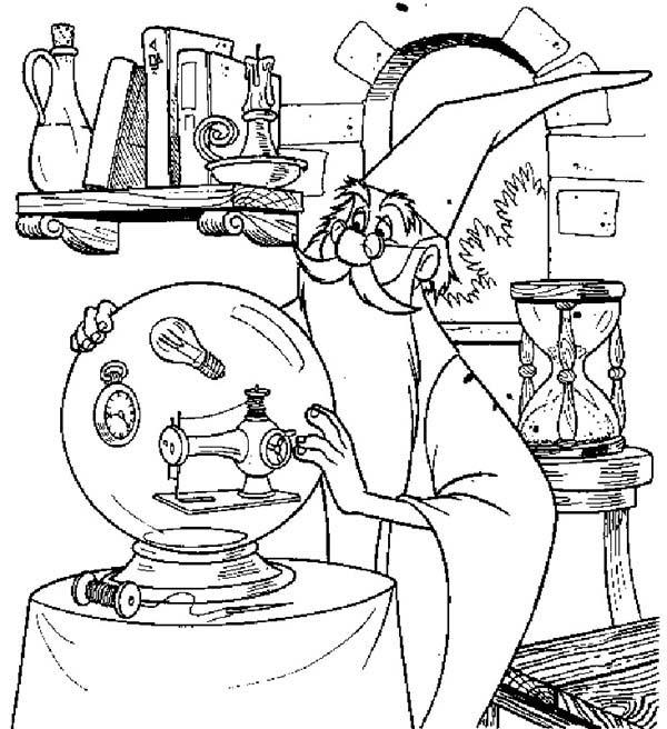 Merlin The Wizard Touch His Magic Christal Ball Coloring Pages