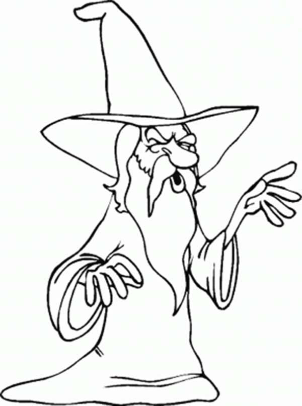 Merlin The Wizard With Long White Beard Coloring Pages