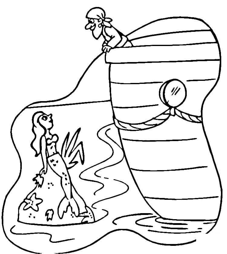 Mermaid And Pirate Coloring Pages