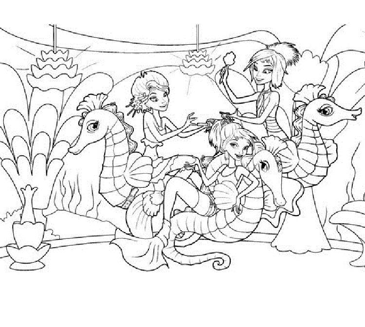Mermaid And Seahorse Coloring Pages