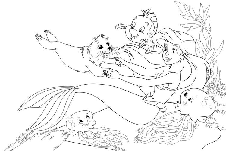 Mermaid Cartoon Coloring Pages