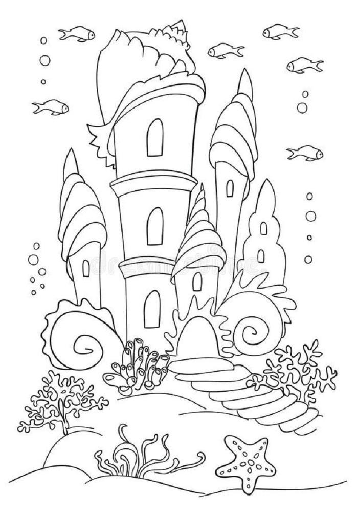 Mermaid Castle Coloring Pages