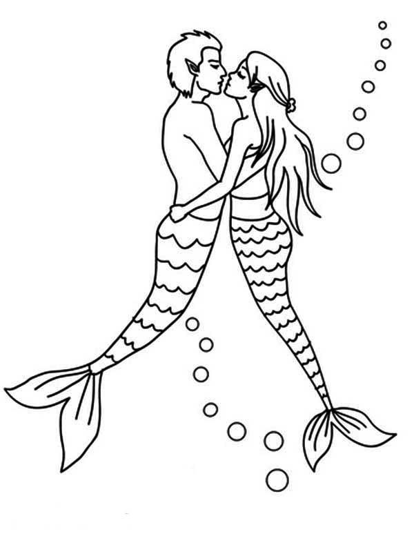 Mermaid Couple Kissing Coloring Pages