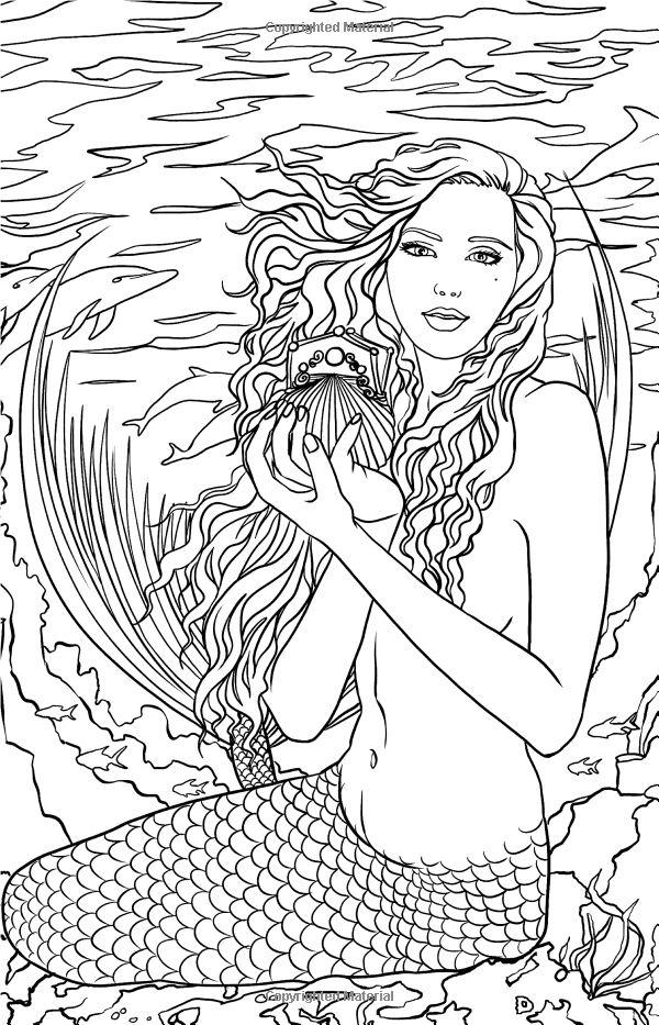 Mermaid Fantasy Coloring Pages For Adults