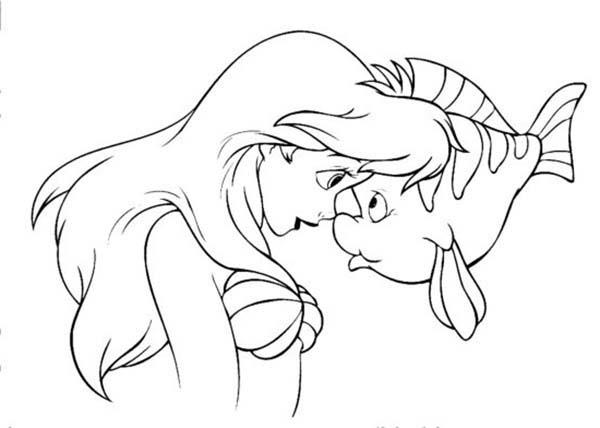 Mermaid Princess And Her Bestfriend Flounder Coloring Pages