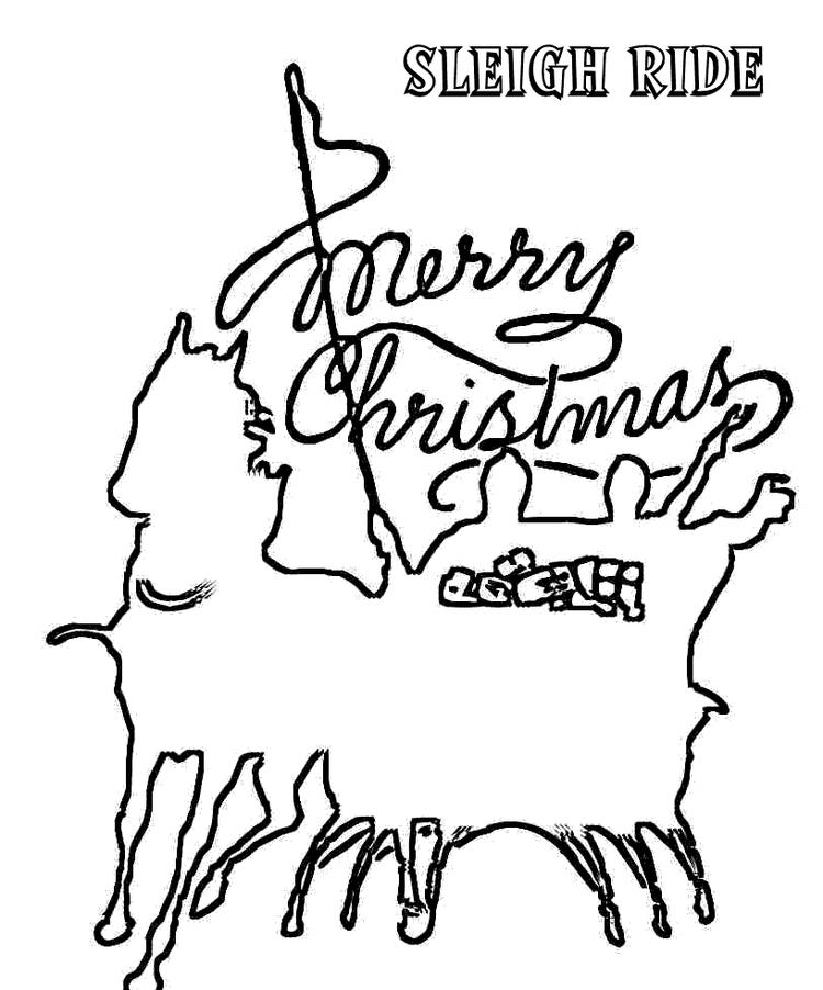 Merry Christmas Coloring Pages Sleigh Ride