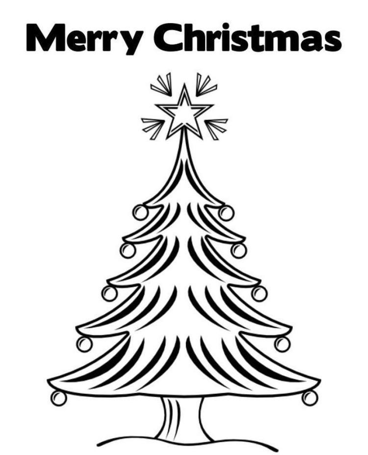 Merry Christmas Coloring Pages Tree