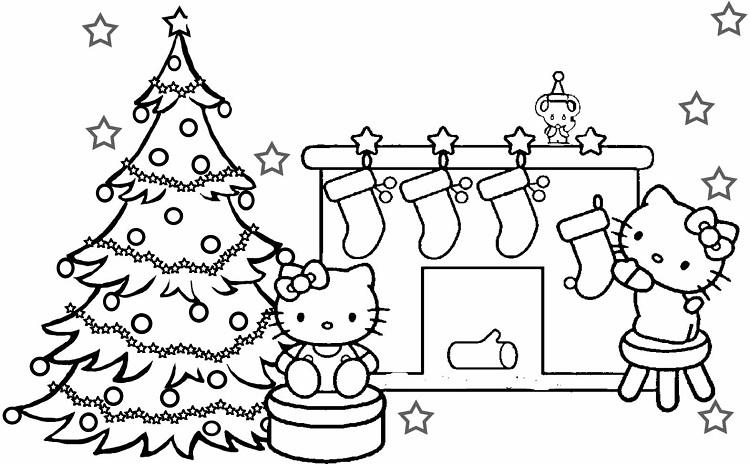 Merry Christmas Hello Kitty Coloring Pages