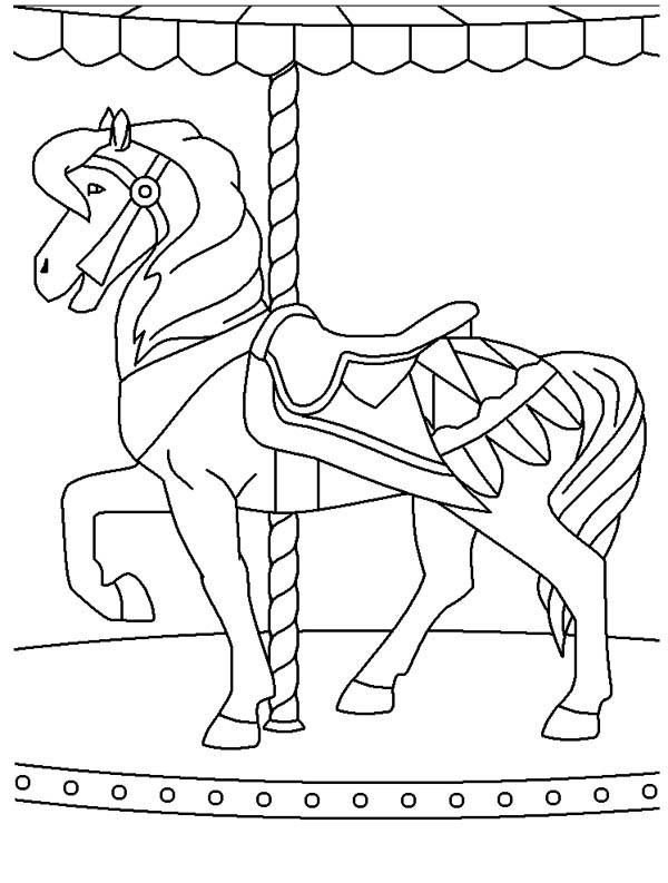 Merry Go Round At Circus And Carnival Coloring Pages