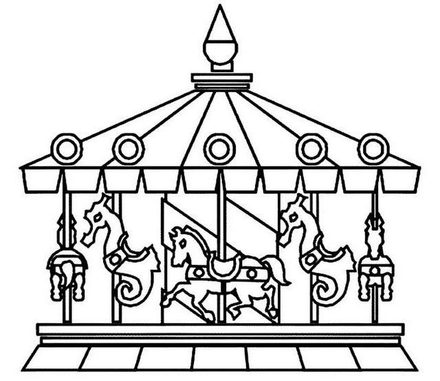 Merry Go Round Carousel Carnival Coloring Sheets