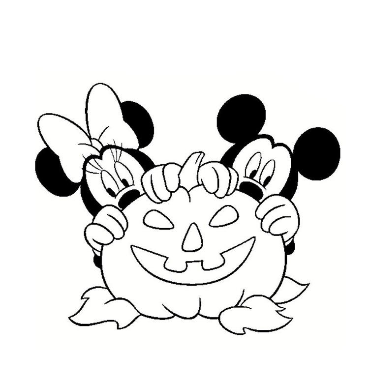 Mickey And Minnie Disney Halloween Coloring Pages