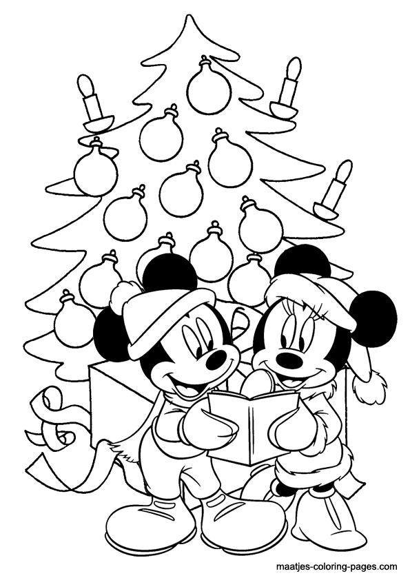 Mickey And Minnie Mouse Coloring Pages Christmas