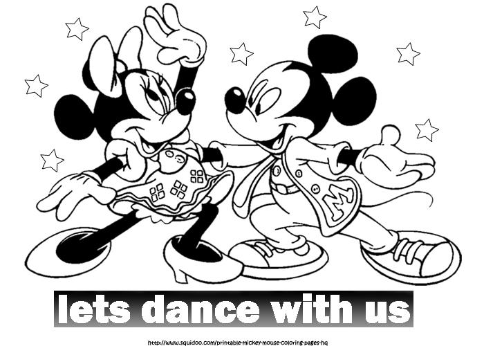 Mickey And Minnie Mouse Coloring Pages Dance