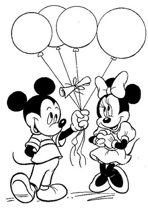 Mickey Giving Balloons To Minnie Disney Coloring Pages