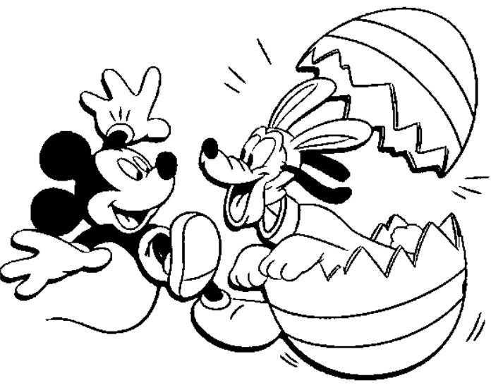 Mickey Mouse And Pluto Easter Disney Coloring Pages
