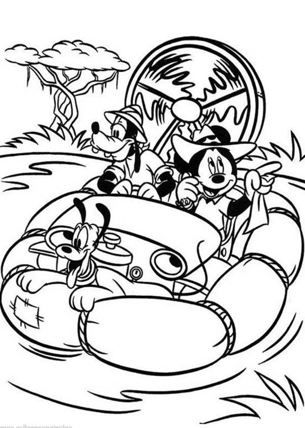 Mickey Mouse Safari Coloring Pages Adventure In The Wild River