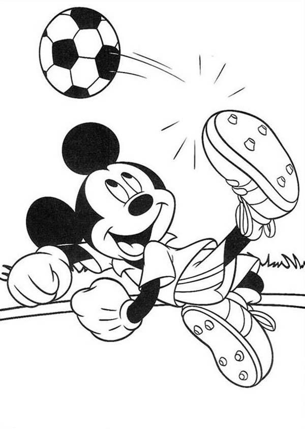 Mickey Mouse Safari Coloring Pages Mickey Trying To Score A Goal