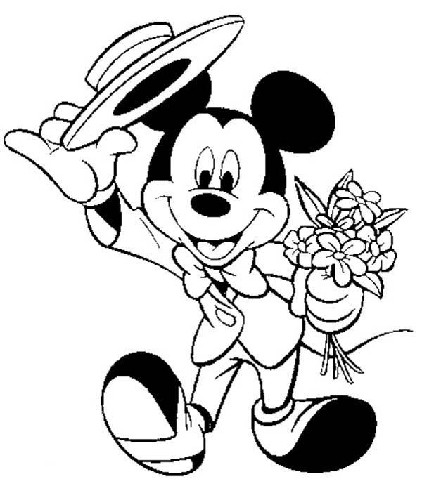 Mickey Mouse Safari Coloring Pages Wearing Suit And Bring Minnie Bouquet Of Flower