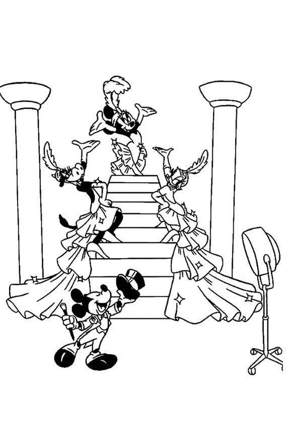 Mickey mouse safari coloring pages with friends dance at party