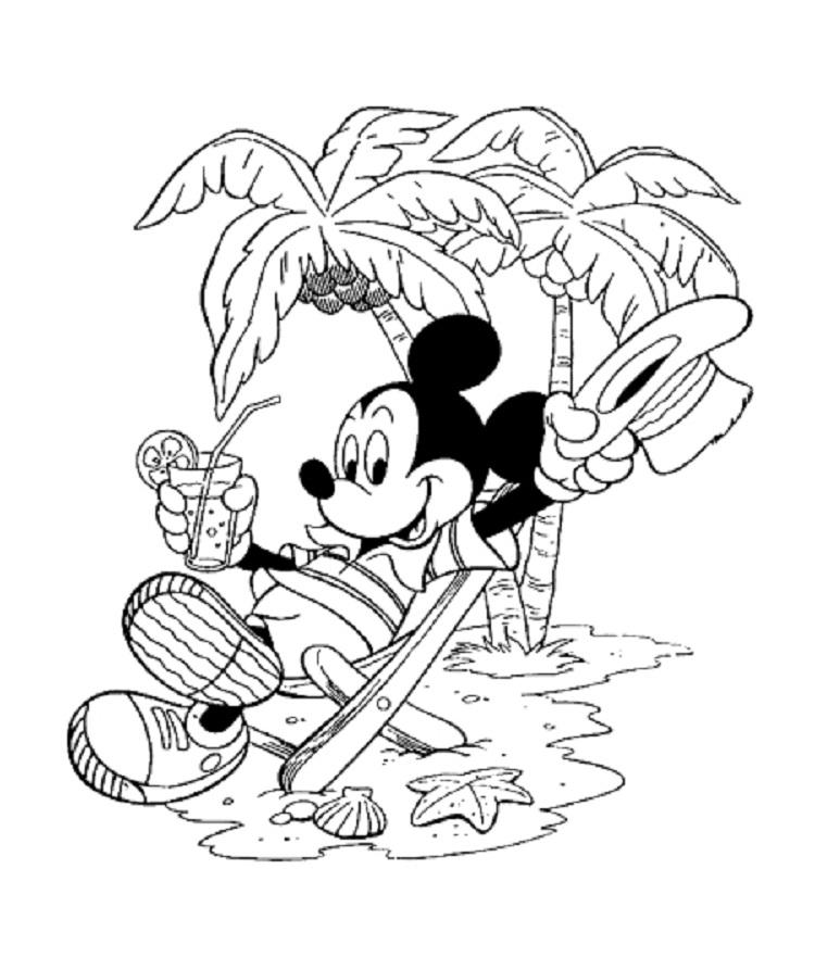 Mickey Mouse Summer Coloring Pages