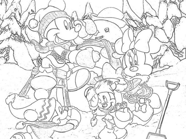 Mickey Mouse Winter Coloring Pages