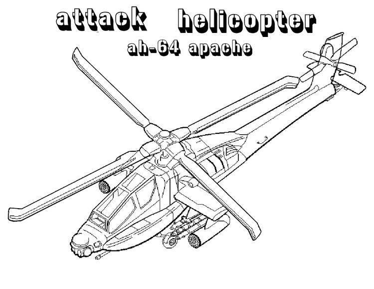 Military Helicopter Coloring Pages Apache