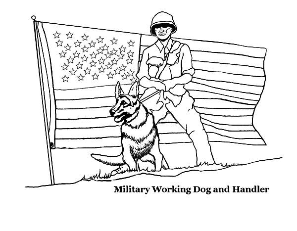 Military Working Dog And Handler American Revolution Flag Coloring Pages