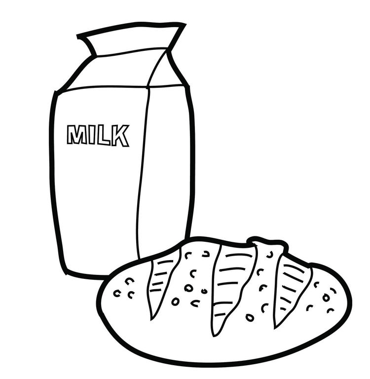 Milk And Bread Coloring Picture