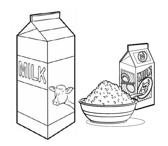 Milk And Cereal Coloring Sheet
