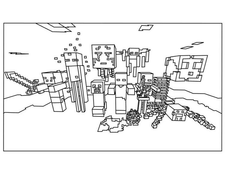 Minecraft Coloring Pages All Mobs