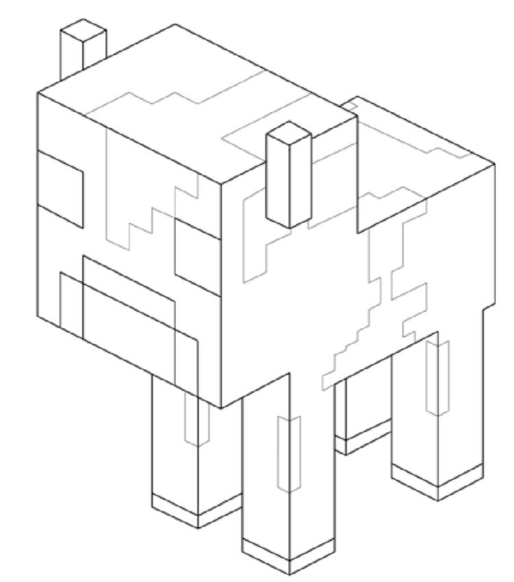 Minecraft Coloring Pages Baby Mooshroom Cow