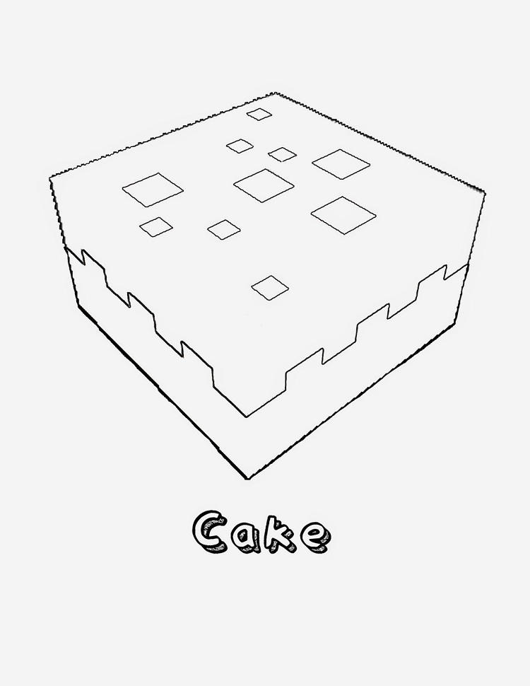 Minecraft Coloring Pages Cake