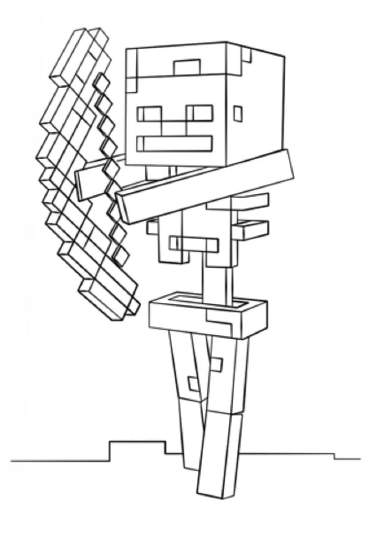 Minecraft Coloring Pages Skeleton With Bow