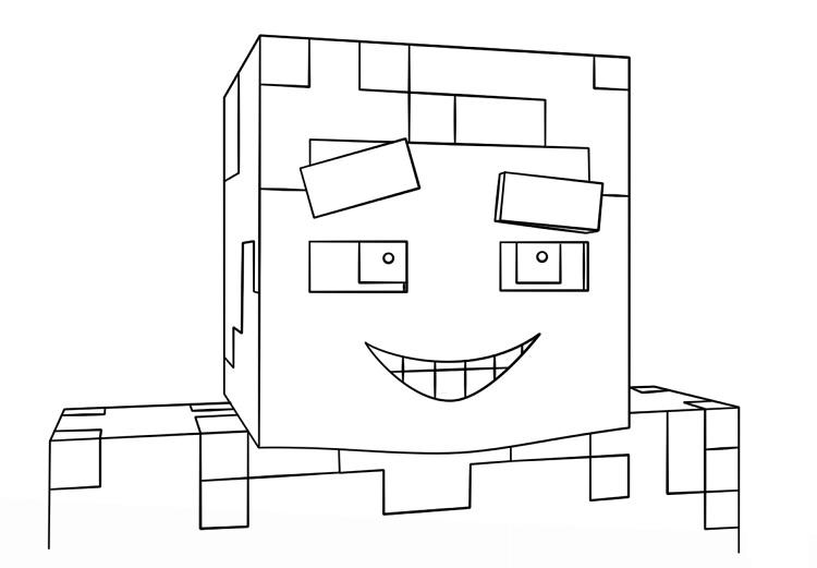 Minecraft Coloring Pages Smiling Steve