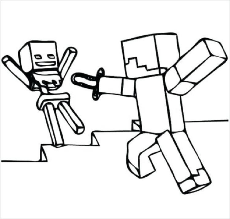 Minecraft Coloring Pages Steve With A Sword