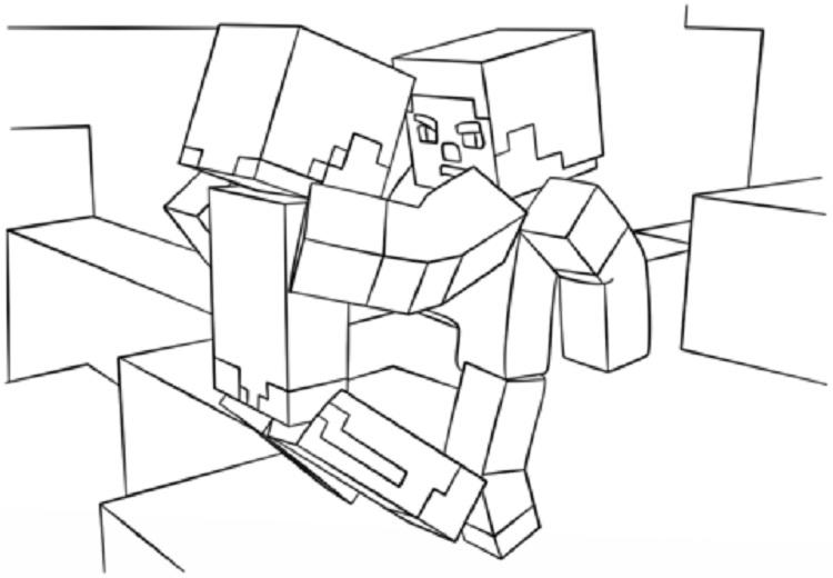 Minecraft Fight Scene Coloring Pages