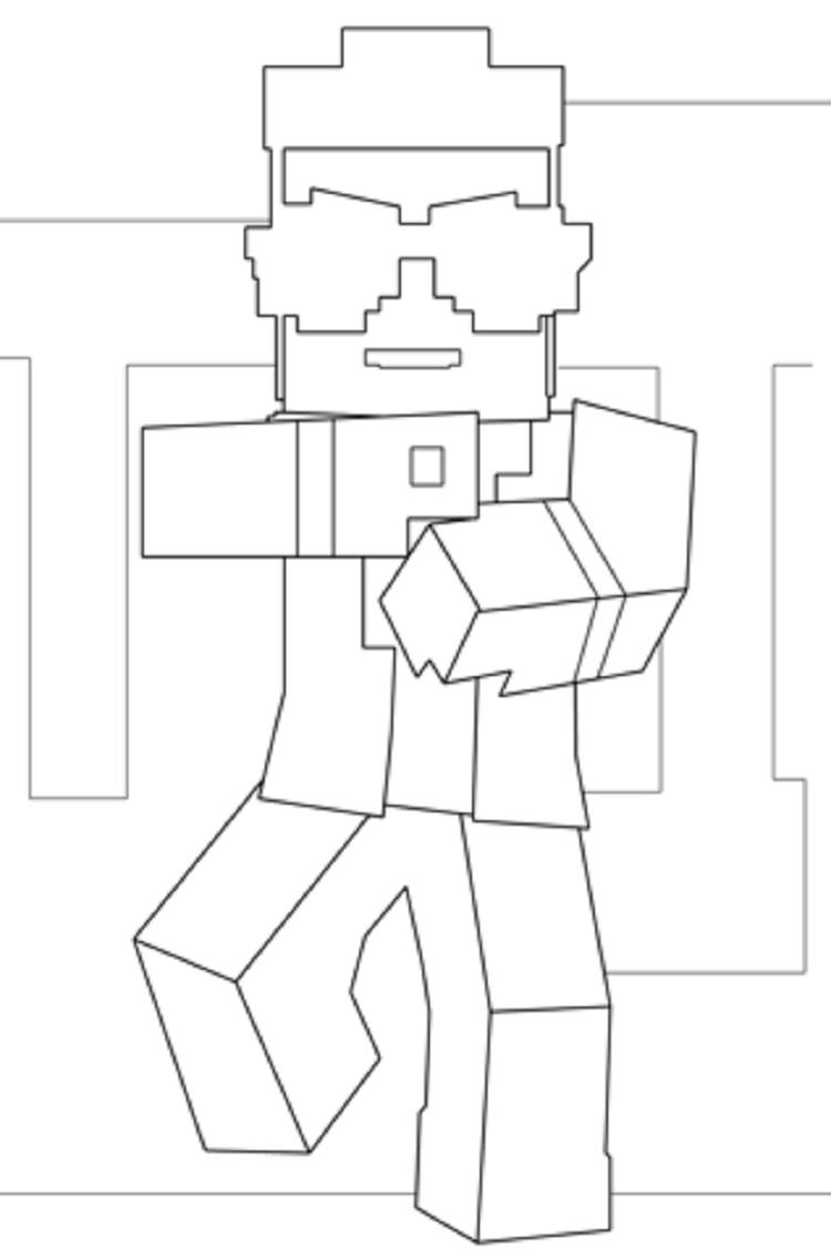 Minecraft Gangnam Style Coloring Pages
