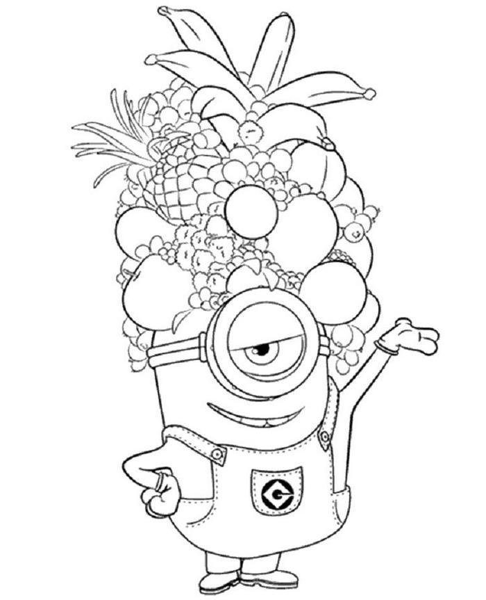 Minion Fruits Hat Coloring Pages