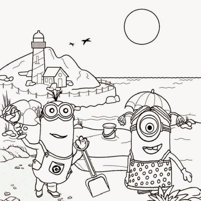 Minion In Summer Coloring Pages