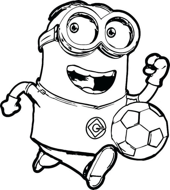 Minion Play Soccer Coloring Pages