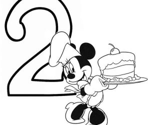 Minnie mouse and birthday cake number 2 coloring page