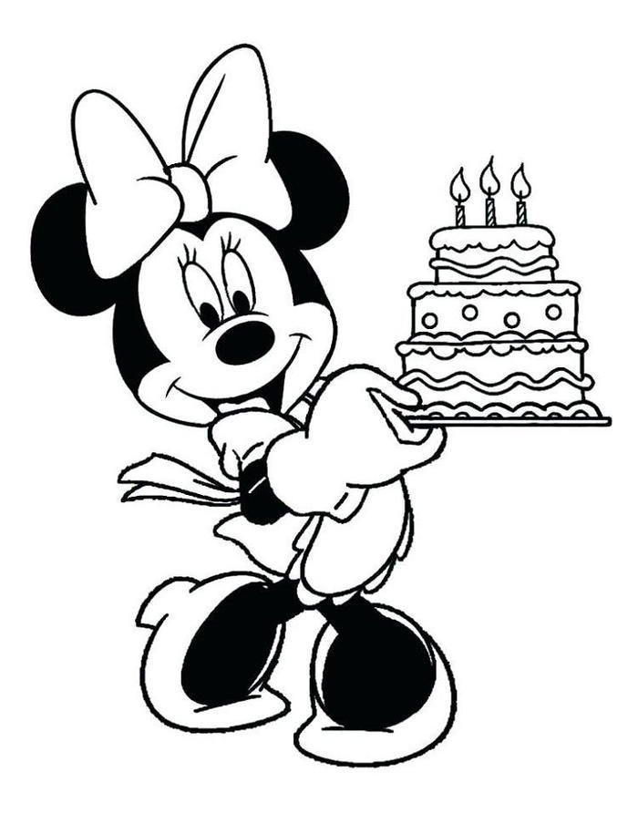Minnie Mouse Coloring Pages Birthday