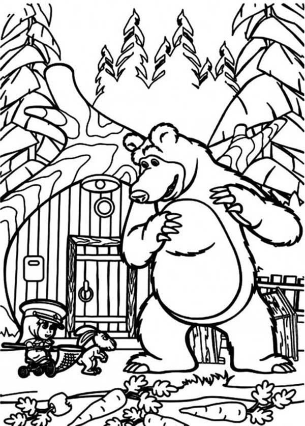Mischa And Mascha Hanging Out With A Rabbit In Mascha And Bear Coloring Pages