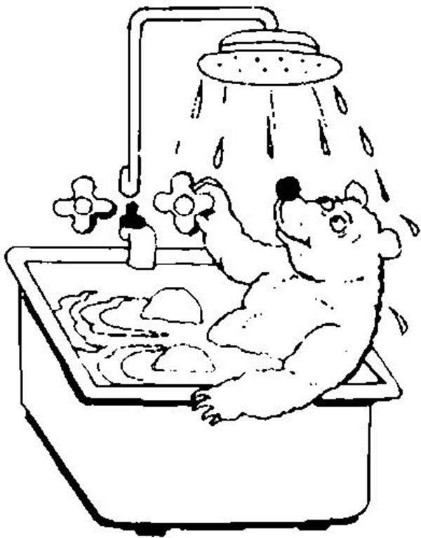 Mischa Bear Take A Bath Coloring Pages