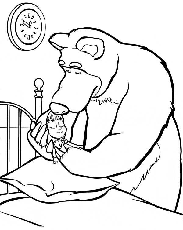 Mischa Put Mascha On Bed In Mascha And Bear Coloring Pages