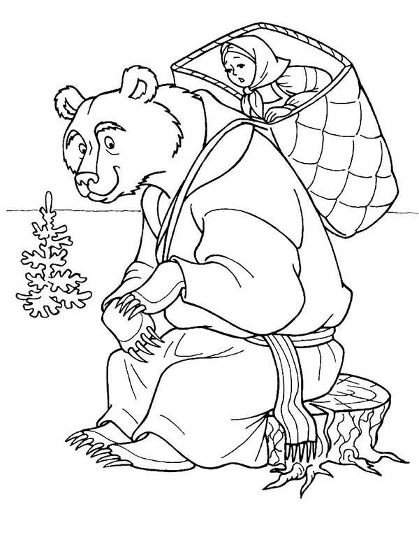 Mischa Put Mascha On His Shoulder In Mascha And Bear Coloring Pages