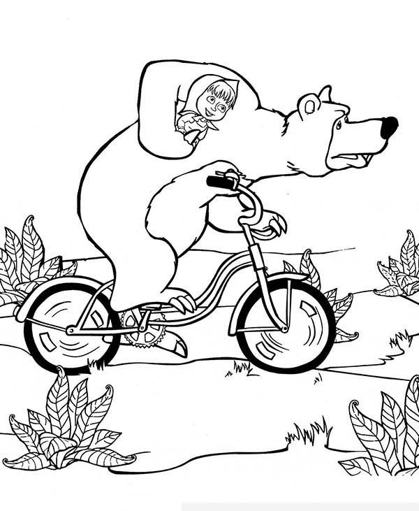 Mischa Take Mascha Home With Bike In Mascha And Bear Coloring Pages