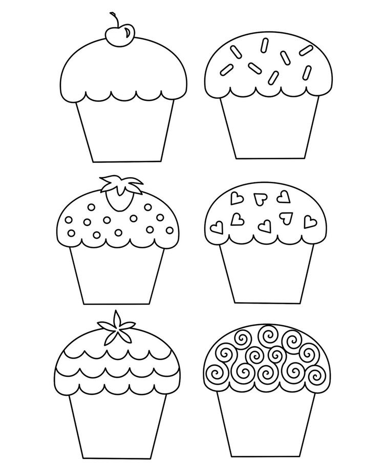 Models Happy Birthday Cupcake Coloring Pages